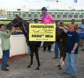 In August 2009 at Canterbury Park, Scott Stevens won his 4,000th race.