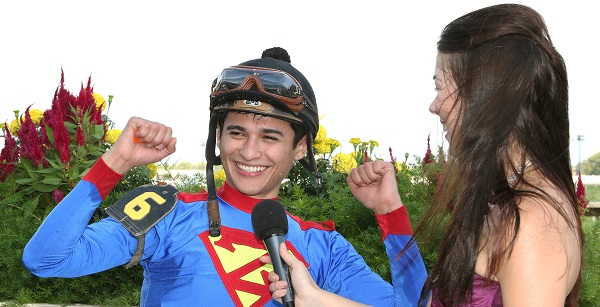 Alex Canchari (L) with Angela Hermann after he won the Classic Championship on A P Is Loose